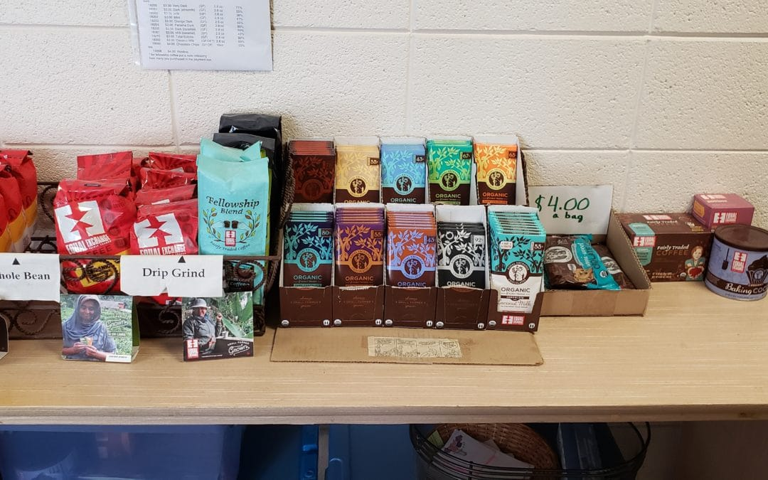 Fair Trade Coffee and Chocolate Table Open for Business